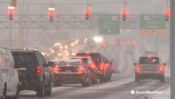 Snowy morning commute around Kalamazoo