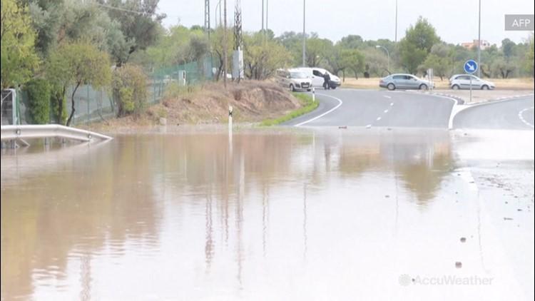 Roads turned to rivers as torrential rain strikes Spain