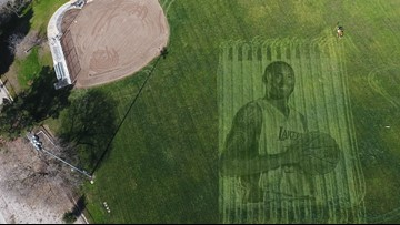 California couple creates giant grass tribute to Kobe Bryant