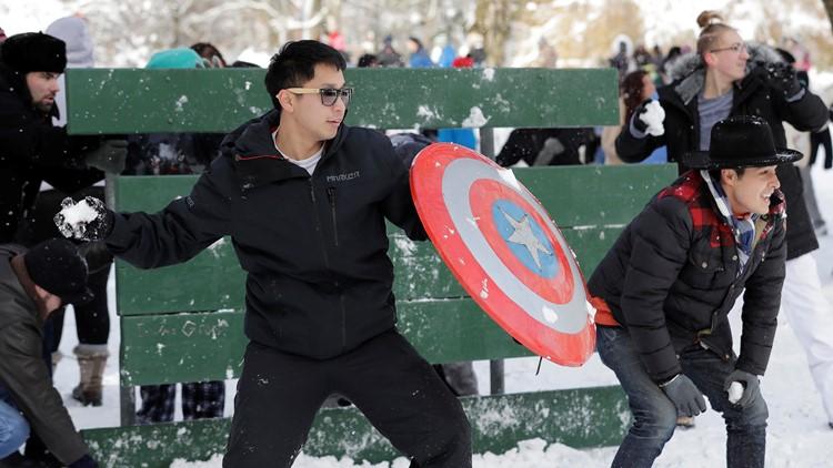 Winter Weather snowball fight Tacoma Washington armor