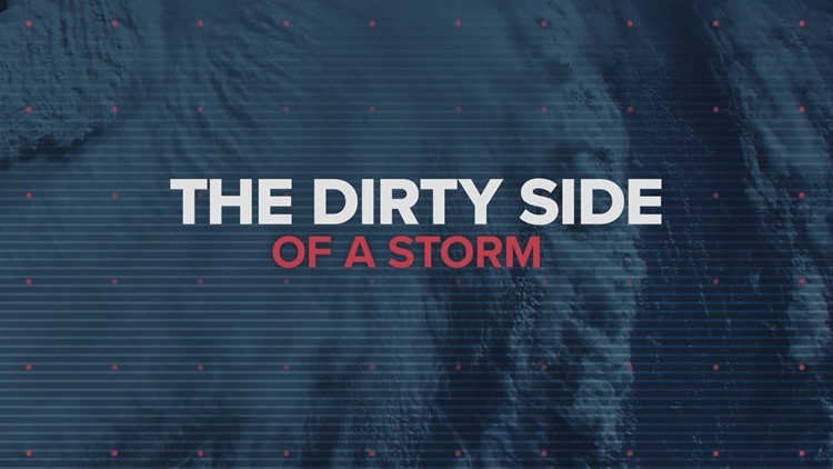 What is the dirty side of a hurricane?