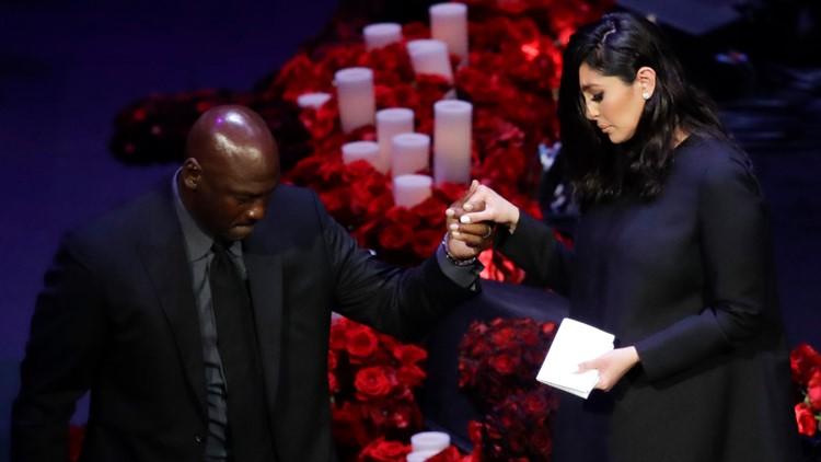 Michael Jordan gives emotional tribute at Kobe Bryant memorial