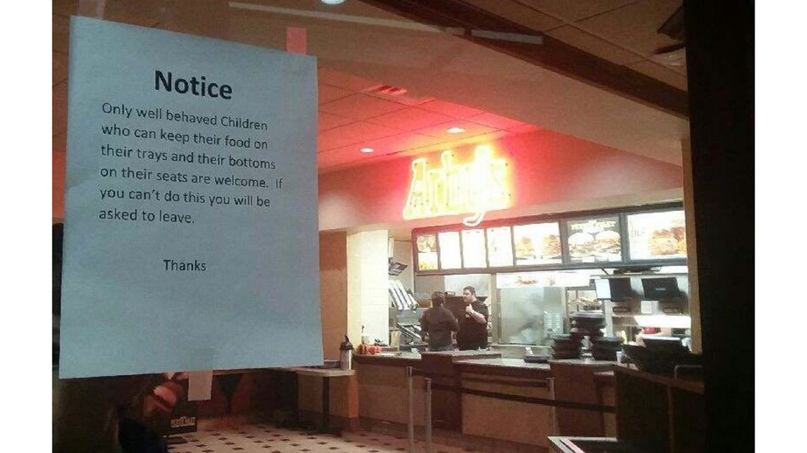 Parent questions sign about unruly children at Elk River Arby's