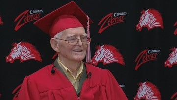 95-year-old WWII veteran receives high school diploma