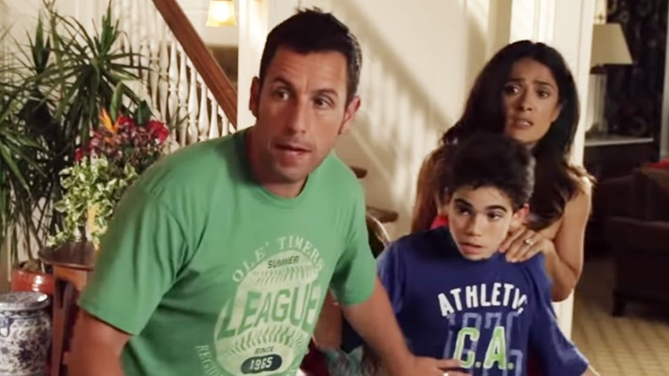 Still frame from the Grown Ups 2 movie with Adam Sandler