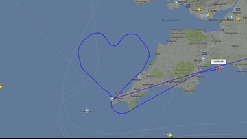 Virgin Airlines draws giant heart in sky to celebrate V-Day