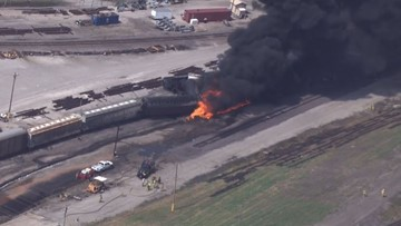 Freight train derails, catches fire in Illinois | wcnc com