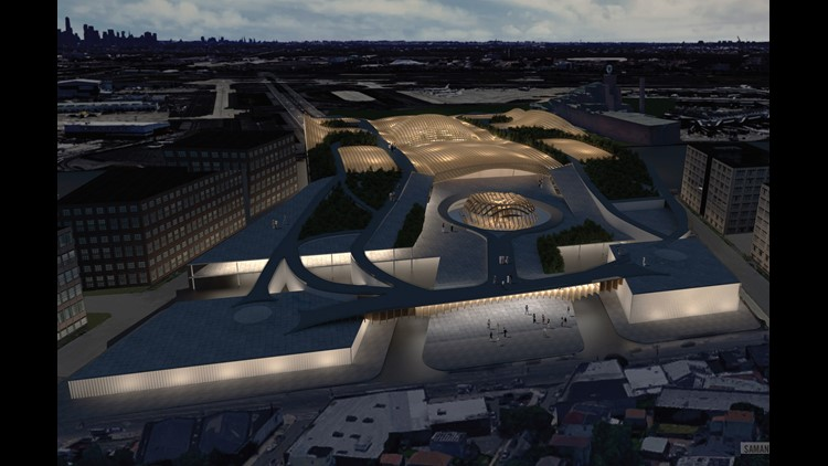 Samantha Pires' reimagining of Newark airport. Rendering courtesy of Fentress Architects