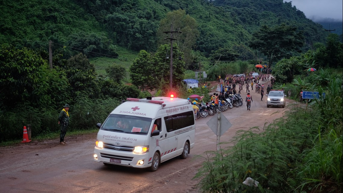 4 boys rescued from Thai cave in risky operation; 9 remain inside