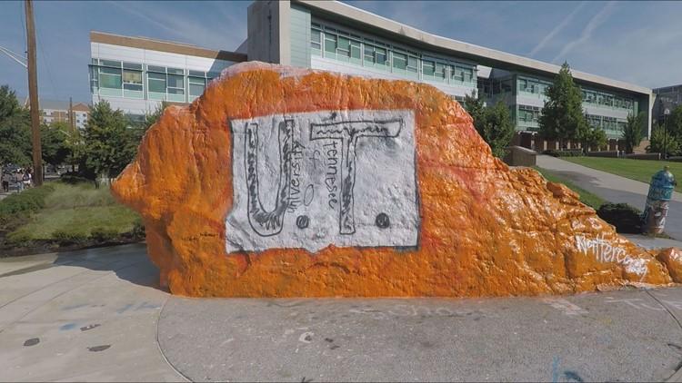 Rock painted with Florida boy's UT shirt design