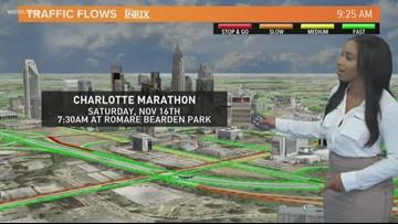 Traffic flow during the Charlotte Marathon