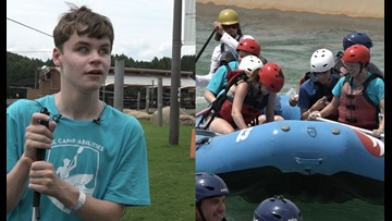 Students who are blind raft at the Whitewater Center