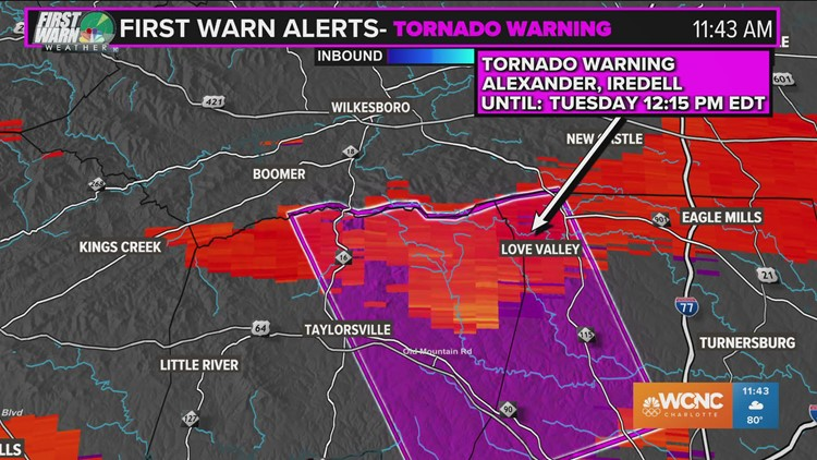 Tornado Warning issued for Alexander, Iredell counties