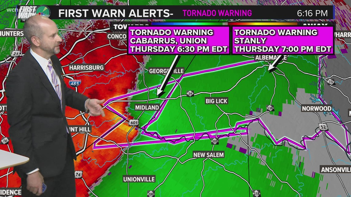 Tornado warning issued for parts of Cabarrus, Stanly and Union counties