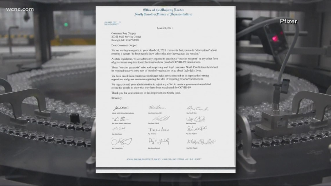 North Carolina House Republicans send letter to Gov. Cooper opposing vaccine passports