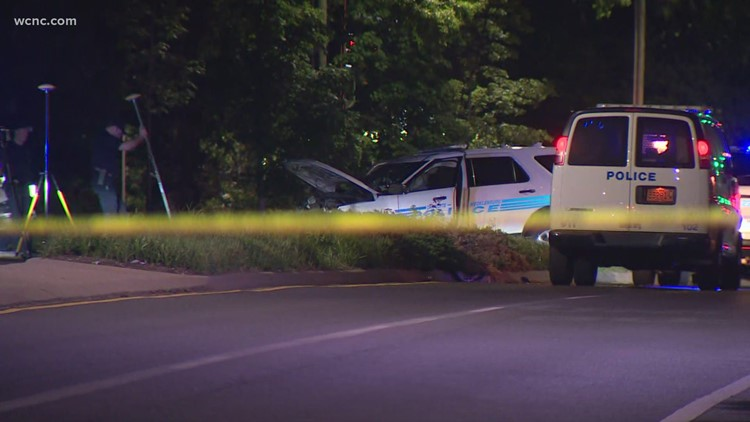 CMPD cruiser involved in crash on Central Ave near Sharon Amity in east Charlotte