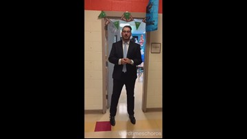 Teacher decks classroom in Carolina Panthers