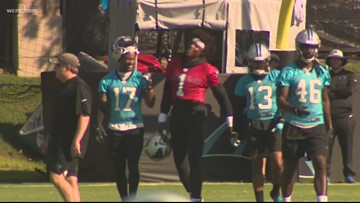 Cam throws at Panthers minicamp