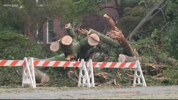 Thousands without power after strong storms knock down trees, power lines in Mecklenburg County