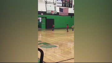 RAW: Charlotte 3-year-old makes shot after shot on basketball court