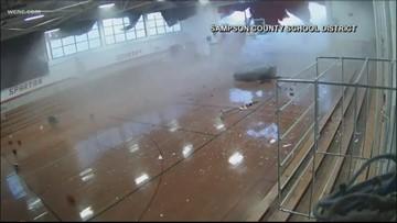 Surveillance video shows NC school gym collapse