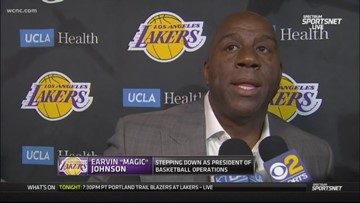 Magic Johnson abruptly steps down as president of the Los Angeles Lakers
