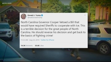 President Trump criticizes Governor Cooper over vetoing House Bill 370