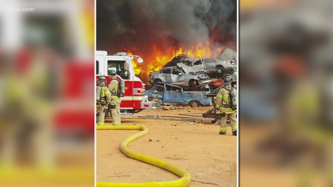 Massive fire breaks out at metal recycling yard