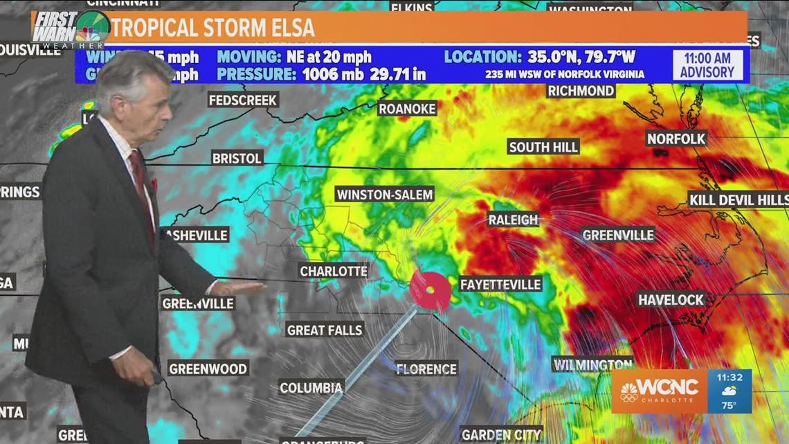 Tropical Storm Elsa brings torrential rain, gusty winds to the Carolinas