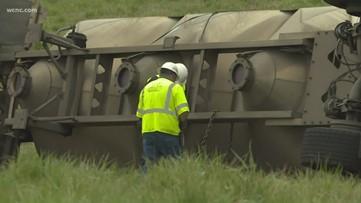 Tractor-trailer overturns on Highway 152 east of Mooresville