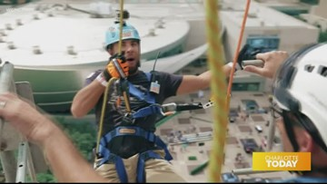 Rappel down a building with NASCAR