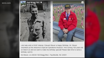 Fort Bragg asks for birthday cards for WWII veteran