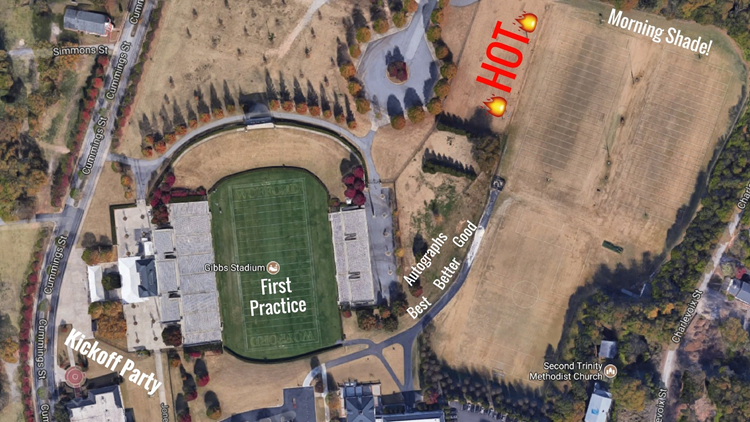 Panthers training camp map