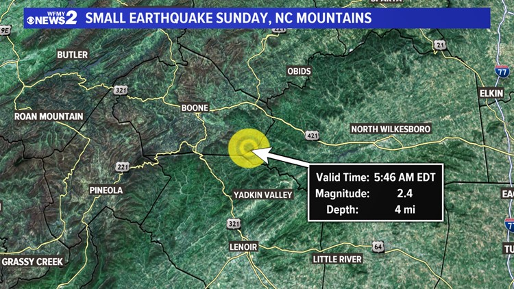 The earthquake happened Sunday around 4:46 a.m. and the USGS says it was located 10 miles north of Lenoir and 13.7 miles southeast of Boone.