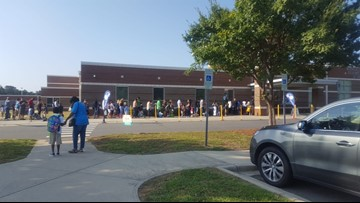 Long lines mark first day of new school year at CMS schools