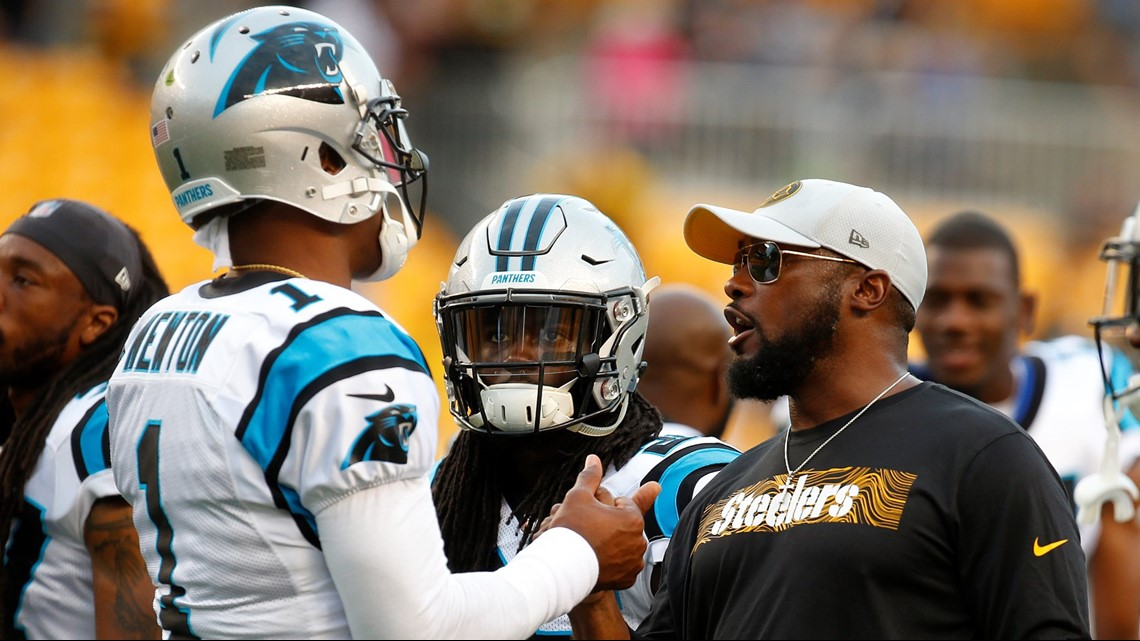 Mike Tomlin of the Pittsburgh Steelers talks with Cam Newton  1 of the  Carolina Panthers before a preseason game on August 30 bd4806749