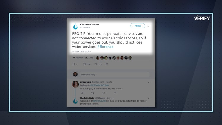 """NBC Charlotte viewer Carol C. sent VERIFY a request: """"Is it true if you are on city water that you will continue to have water even during a power outage?"""""""