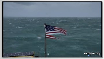 American flag shredded on Frying Pan Tower during Florence to be auctioned