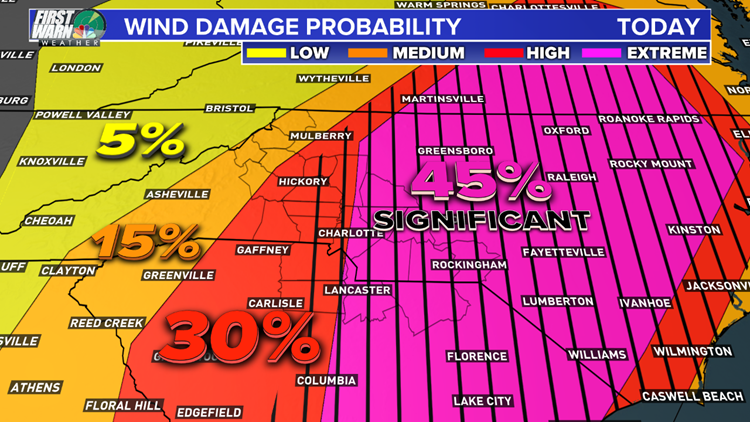 Wind damage probability Charlotte map April 19