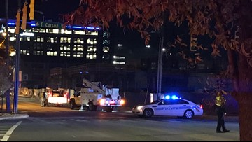 South Tryon Street closed by downed power lines near uptown