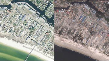 Before and after images show Michael's devastation along Florida panhandle