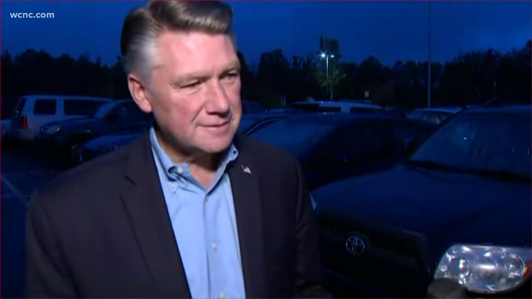 Mark Harris avoids media questions in Concord about disputed election results