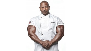 This is the Buff White House Chef. He uses cooking to save soldiers' lives