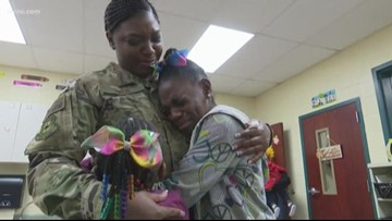 Military mom surprises daughters at Lancaster school