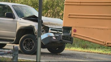 Distracted driver rear-ends Gaston County school bus