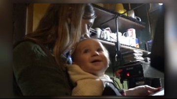 Mom straps on baby to wait tables at NC restaurant during snow storm