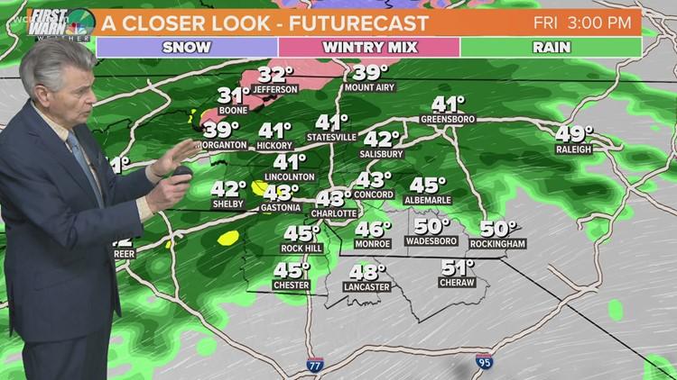 Cold, rainy Friday across the Carolinas