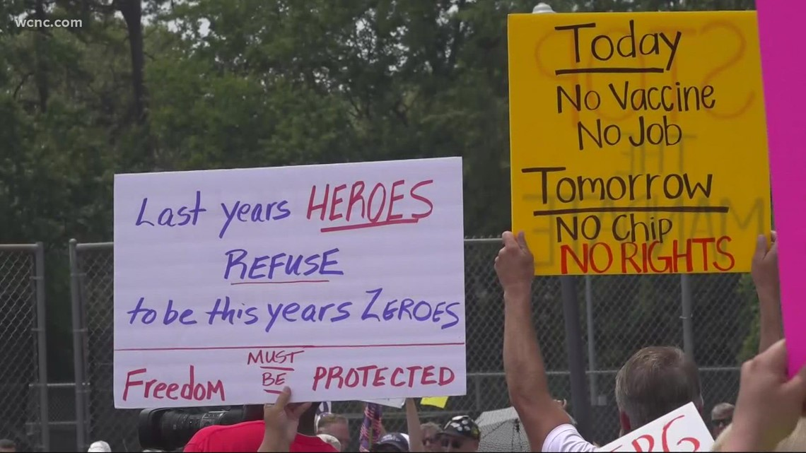 Protest against employer-mandated vaccines held in Charlotte