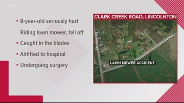 Child seriously hurt in lawn mower accident