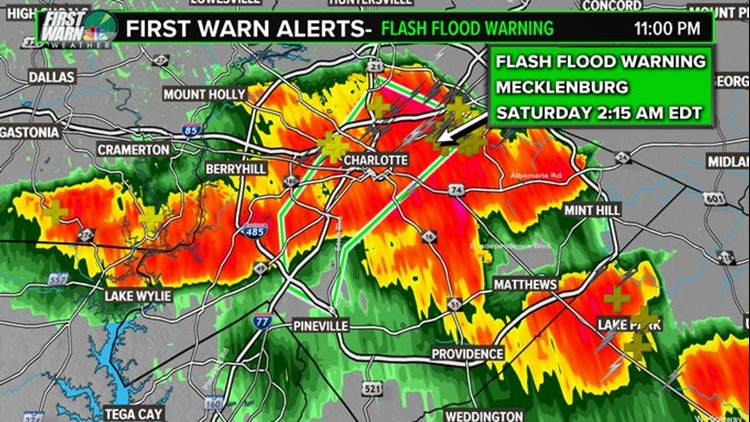 Charlotte creeks rise 9 feet in 1 hour during storm